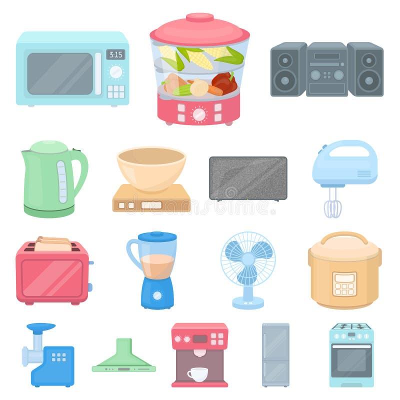 Types van de pictogrammen van het huishoudapparatenbeeldverhaal in vastgestelde inzameling voor ontwerp Web van de het symboolvoo vector illustratie