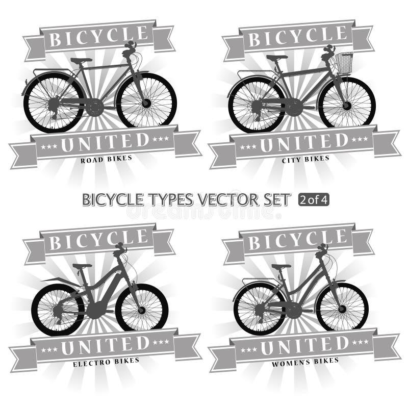 Types van fietsen in de vorm van silhouetten stock foto