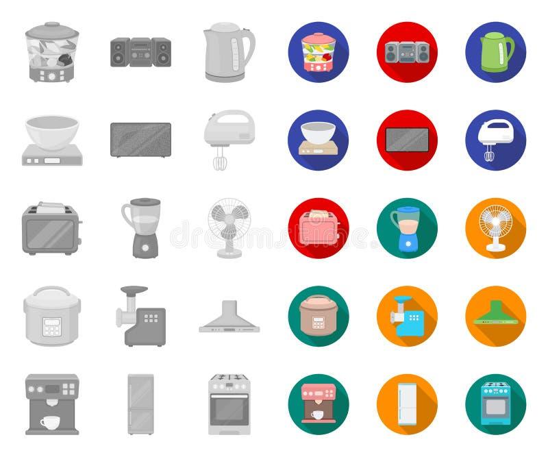 Types van huishoudapparaten mono, vlakke pictogrammen in vastgestelde inzameling voor ontwerp Web van de het symboolvoorraad van  stock illustratie