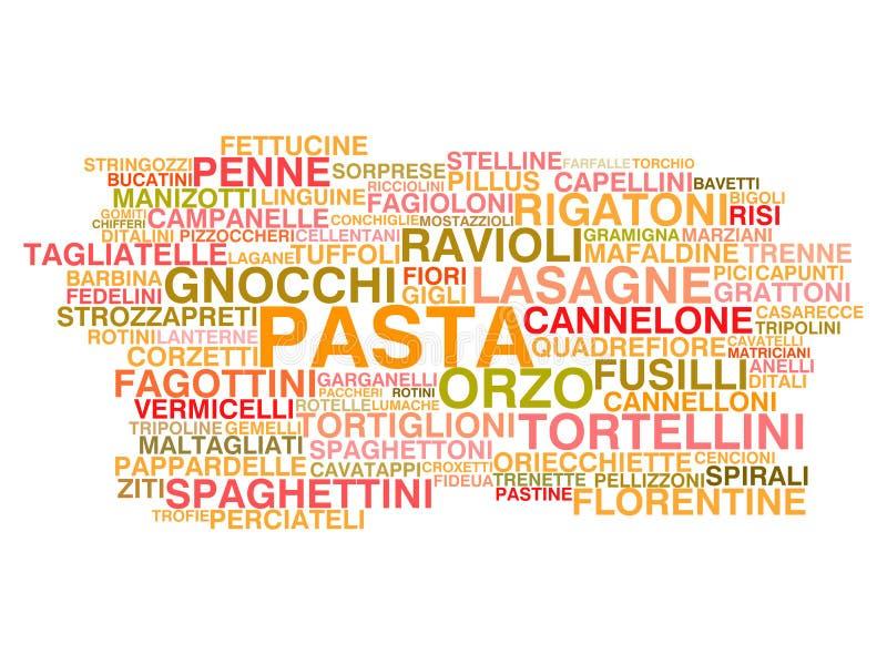 Types van Italiaanse deegwaren stock illustratie