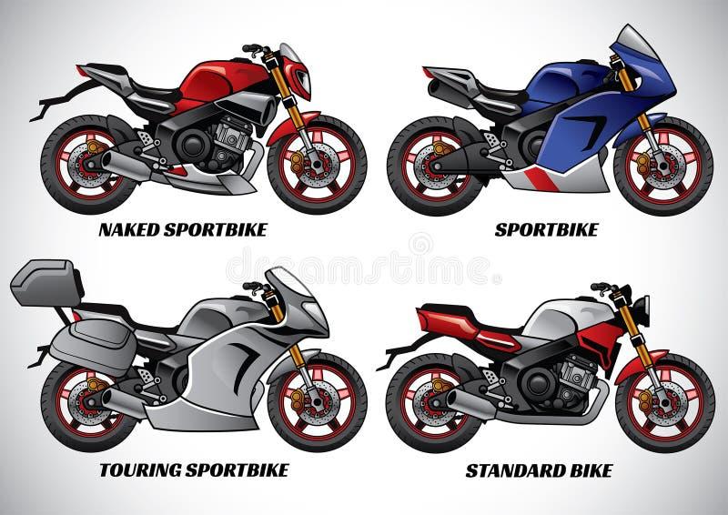 Types van motorfietsdeel 1 vector illustratie
