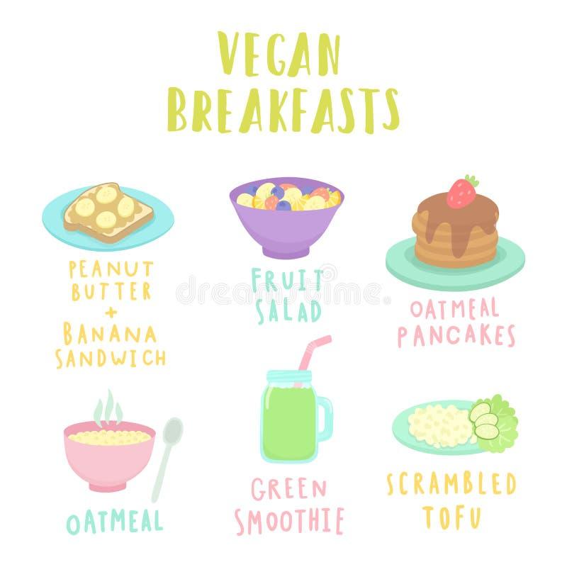 Types van veganistontbijt royalty-vrije illustratie