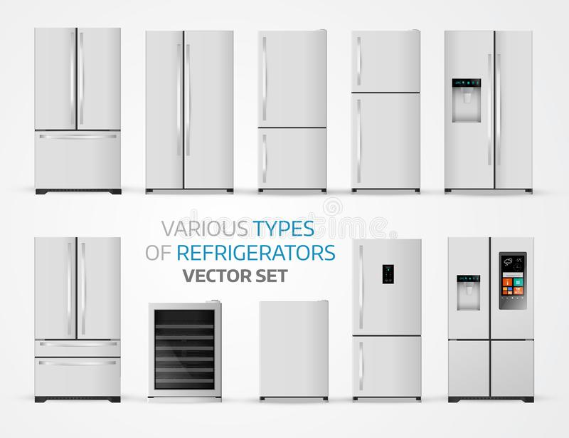 Types variables de réfrigérateurs Ensemble réaliste sur le backgrou blanc illustration de vecteur