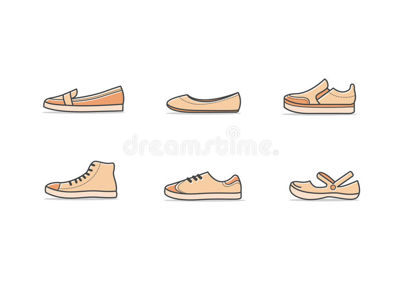 Types of woman shoes vector illustration