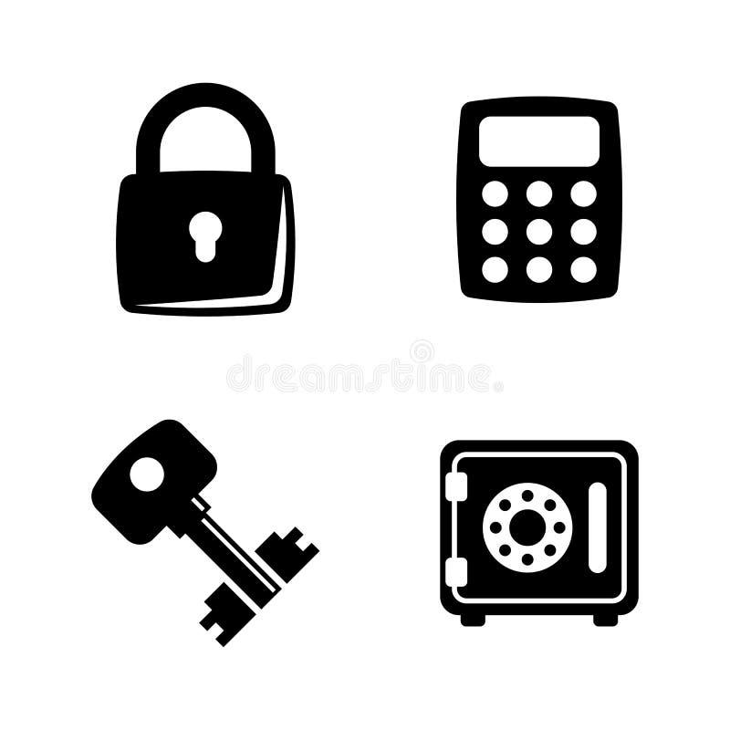 Typessloten en sleutels Eenvoudige Verwante Vectorpictogrammen vector illustratie