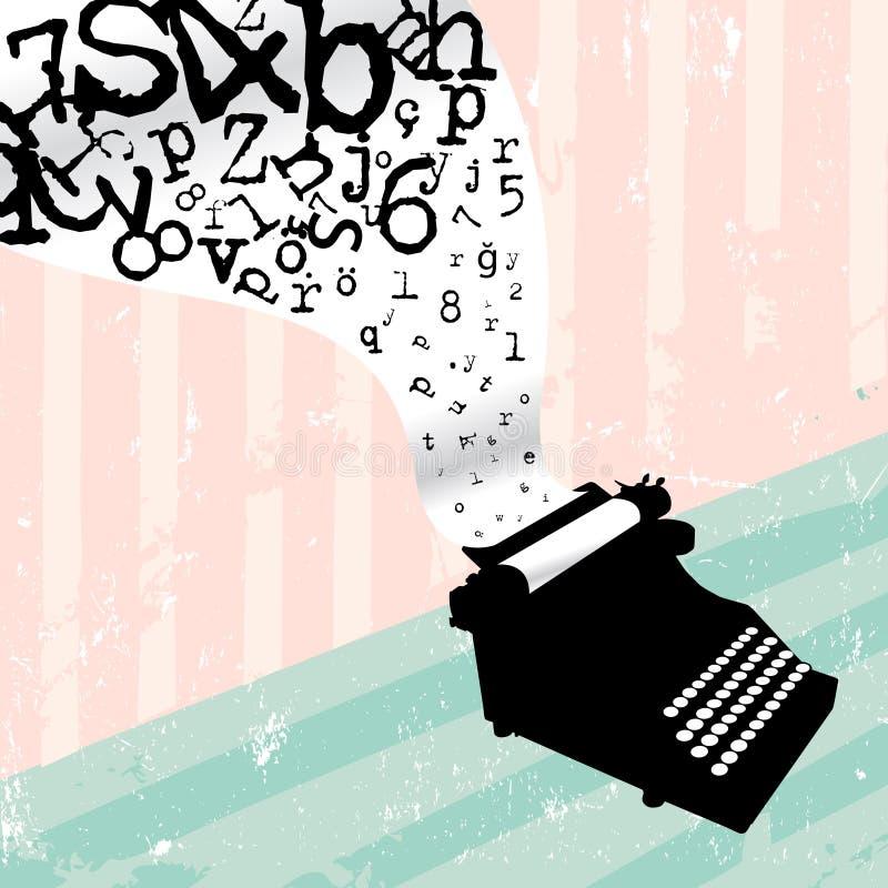 Typewriter. With grunge vector design stock illustration