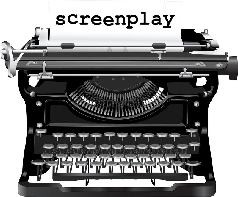 Typewriter. Old typewriter with a screenplay royalty free illustration