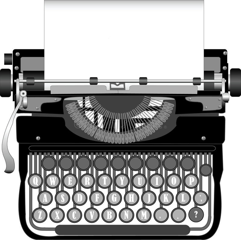 Typewriter. Old typewriter with a paper royalty free illustration