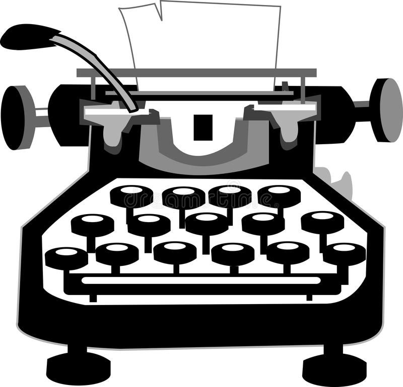 Typewriter. Old typewriter with a paper vector illustration