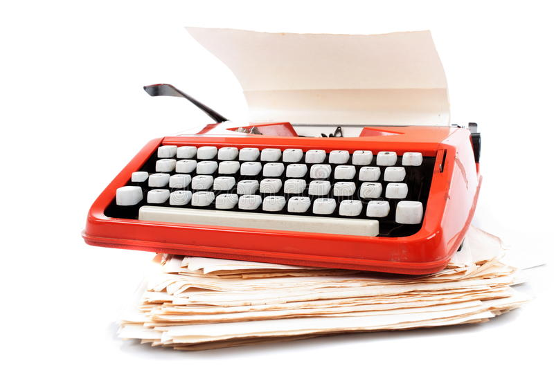 Typewriter. Old ribbon typewriter machine on white stock images