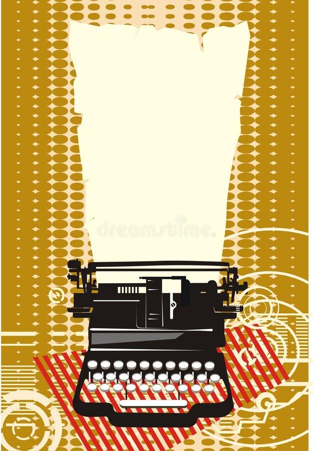 Typewriter. Ochre typewriter with background texture vector illustration
