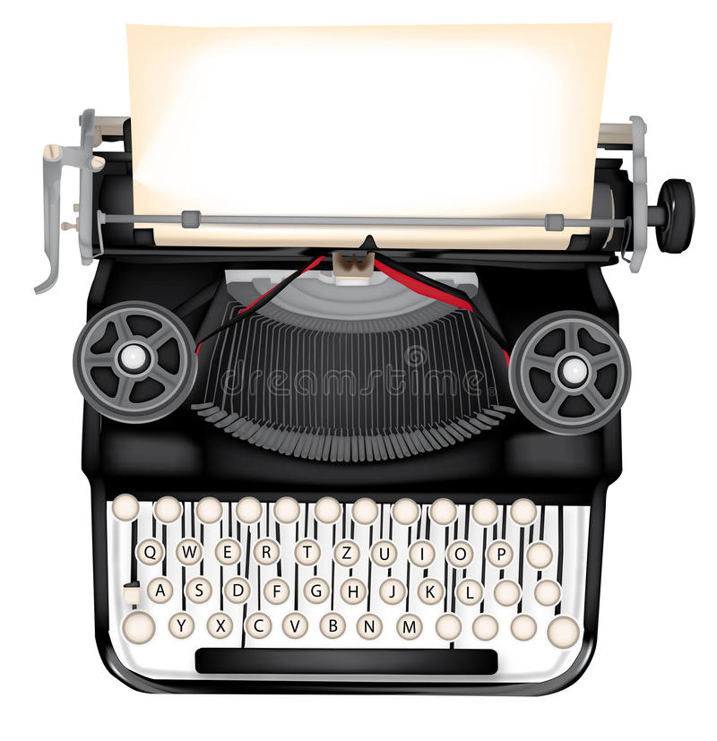 Typewriter. Vector typewriter with blank sheet for all purposes vector illustration