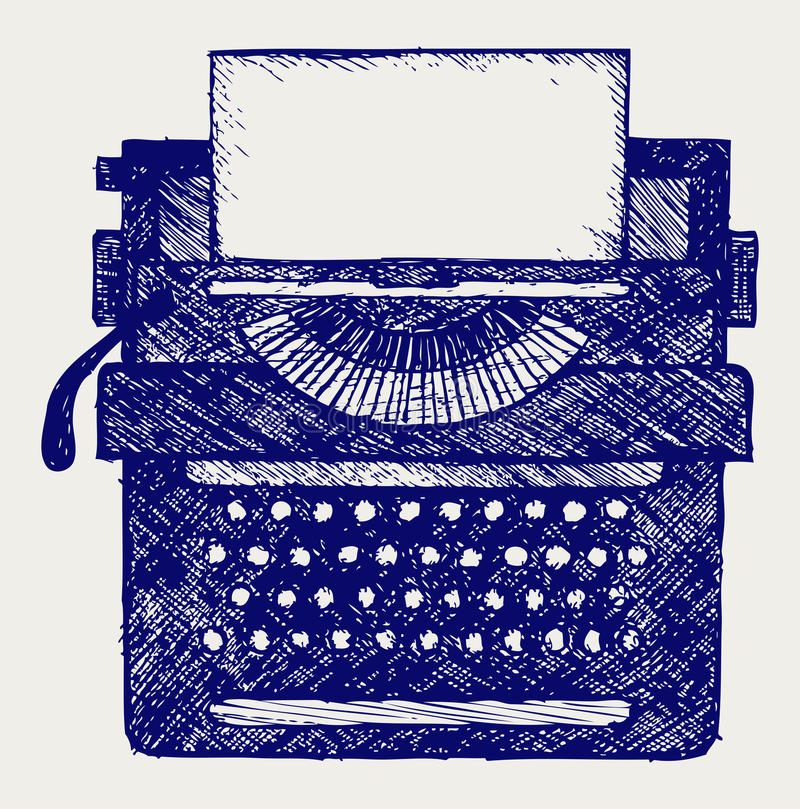 Typewriter. Doodle style. Vector sketchy vector illustration