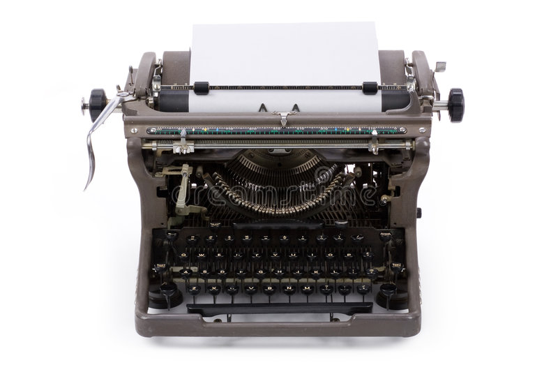 Typewriter. And paper with white background royalty free stock photos