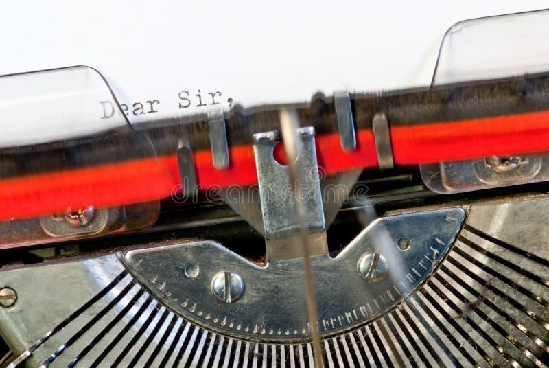 Typewriter. Detail of old typewriter with text royalty free stock photography