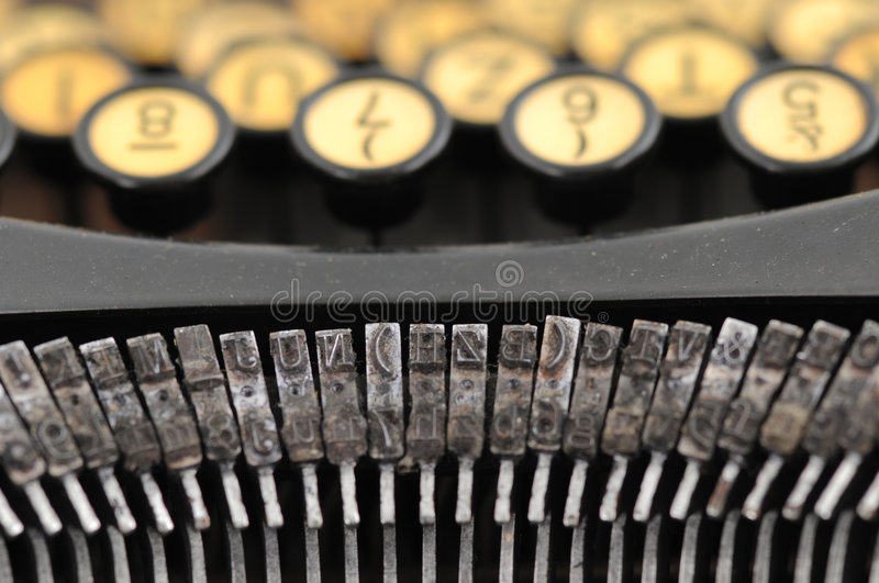 Typewriter. Old and dirty typewriter from above royalty free stock photos