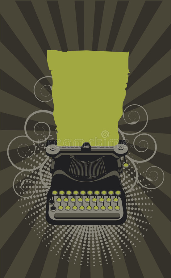 Typewriter. Green and grei illustration vector illustration