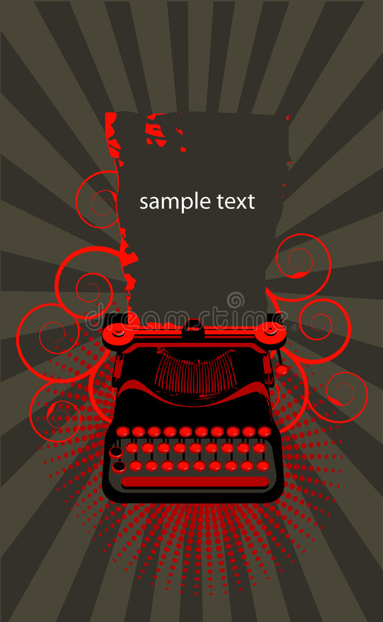 Typewriter. Grey and red background vector illustration