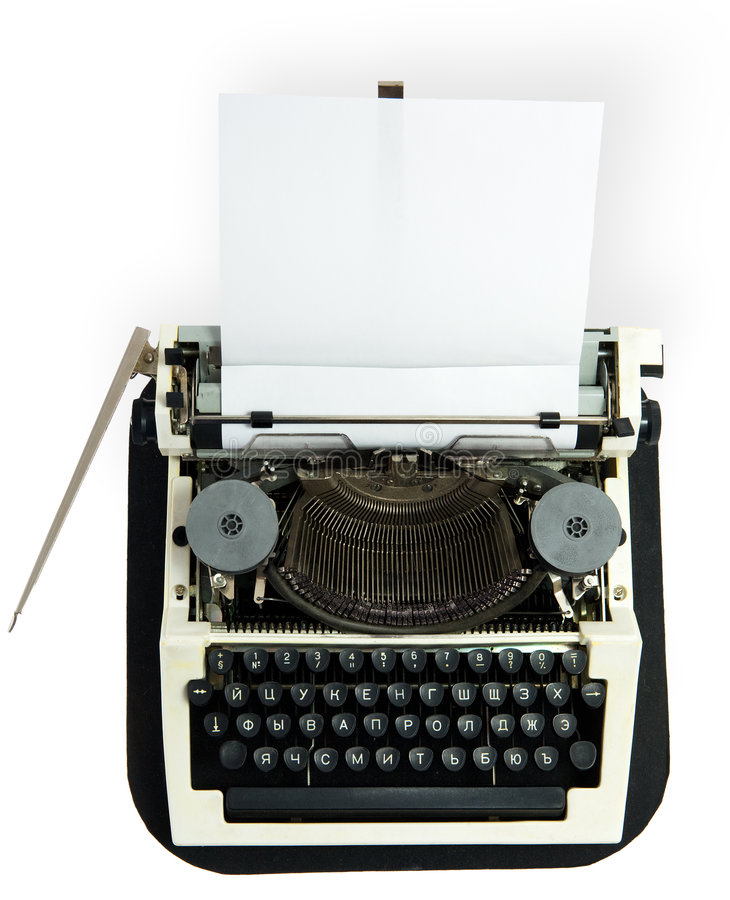 Typewriter. With the inserted leaf of a paper in the carriage stock photo
