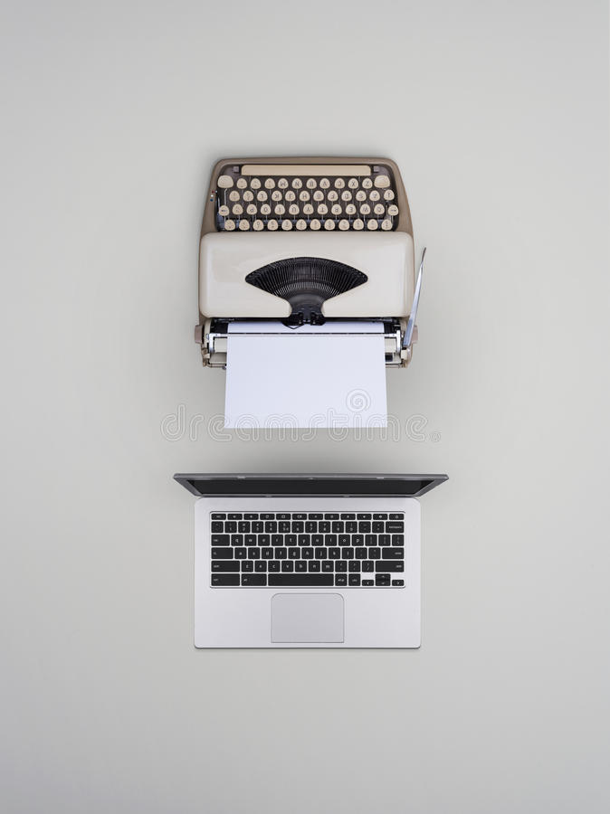 Free Typewriter And Laptop Old Vs New Stock Photography - 98801412