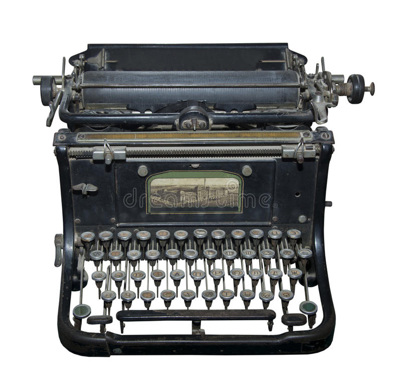 The typewriter of the beginning of 20 centuries. Is isolated on the white royalty free stock images