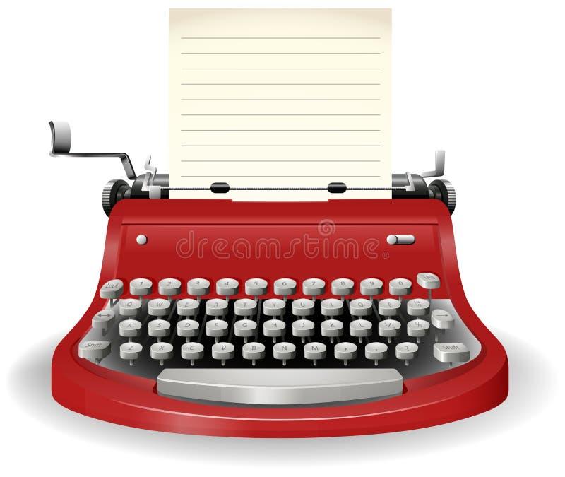 Typewriter. With blank sheet of paper stock illustration