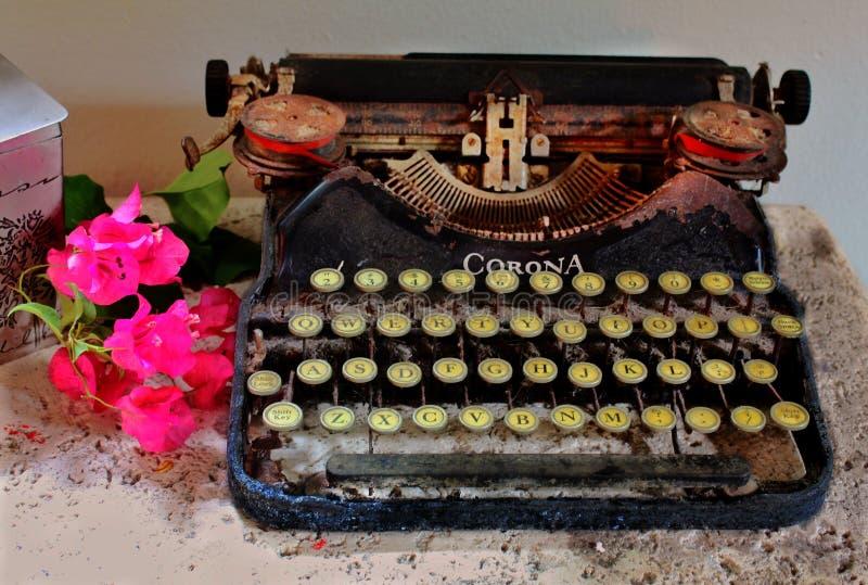 Typewriter bougainvilla stone cocina pedestal pewter container. Typewriter bougainvilla stone cocina pedestal pewter stock photos