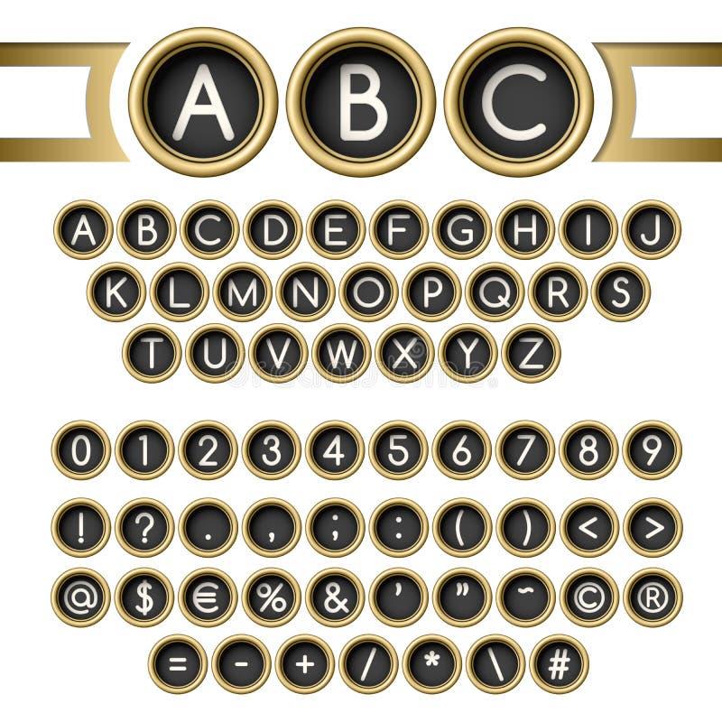 Typewriter buttons alphabet. Vintage letters set. Golden typewriter buttons alphabet vector illustration