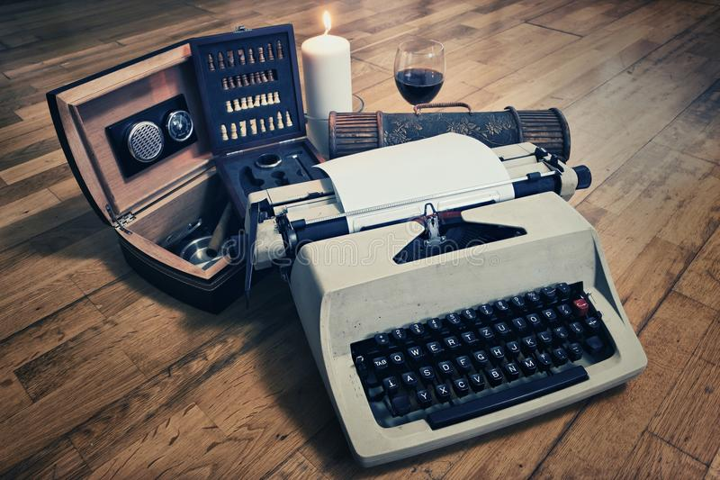 Typewriter. And Cigar Box with Glass of Wine royalty free stock images