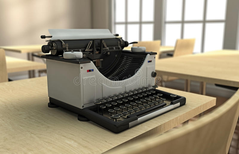 Typewriter on a desk. In a well lighted room royalty free illustration