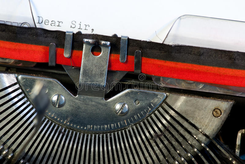 Typewriter. A detail of old used typewriter royalty free stock photos