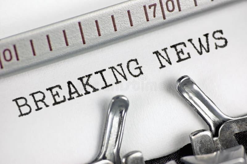 Typewriter detailed macro closeup typing text Breaking News, large detail vintage press, TV, radio, internet mass media journalism stock images