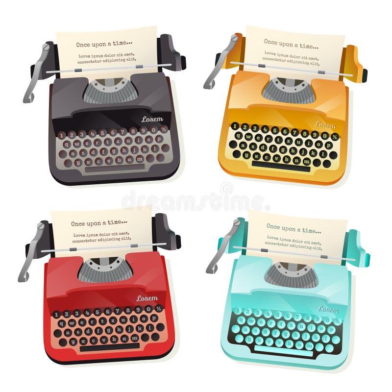 Typewriter Flat Set vector illustration