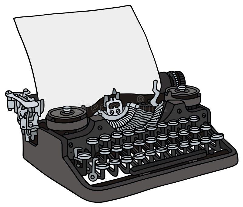 Typewriter. Hand drawing of an old typewriter stock illustration