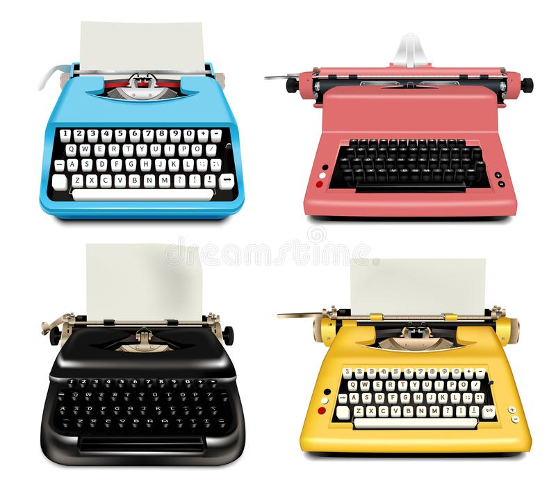 Typewriter icons set, realistic style royalty free illustration