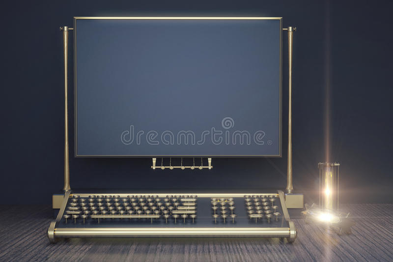 Typewriter keyboard in the style of steampunk on a wooden table. And blank blue frame, mock up royalty free illustration