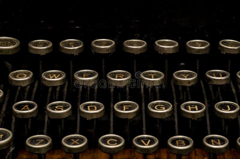 Typewriter keys. Antique typewriter, retro word processor dusty stock photo