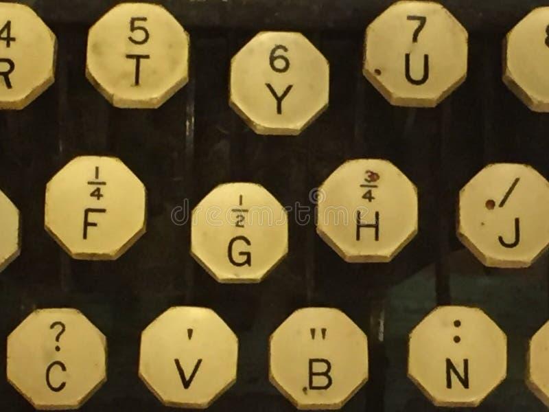 Typewriter keys. An up close phot of vintage typewriter keys royalty free stock image