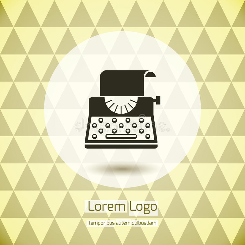 Typewriter logo icon. For company or firm. Keyboard and sheet of paper and print. Vector illustration stock illustration