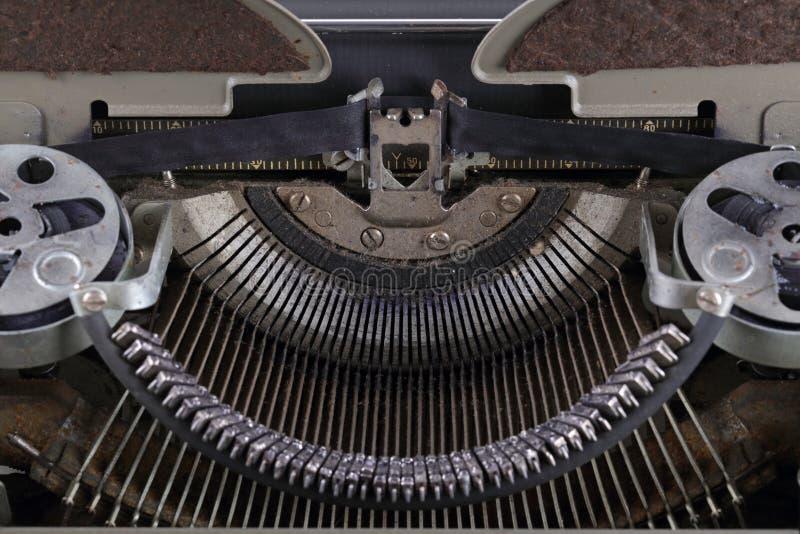 Typewriter. The machinery of an old typewriter, close-up royalty free stock photos