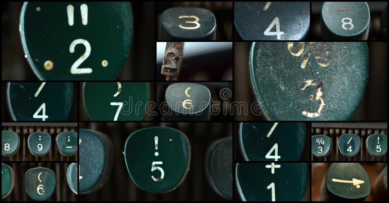 Typewriter numbers. Picture of a numbers of an old green Typewriter , collage stock photo