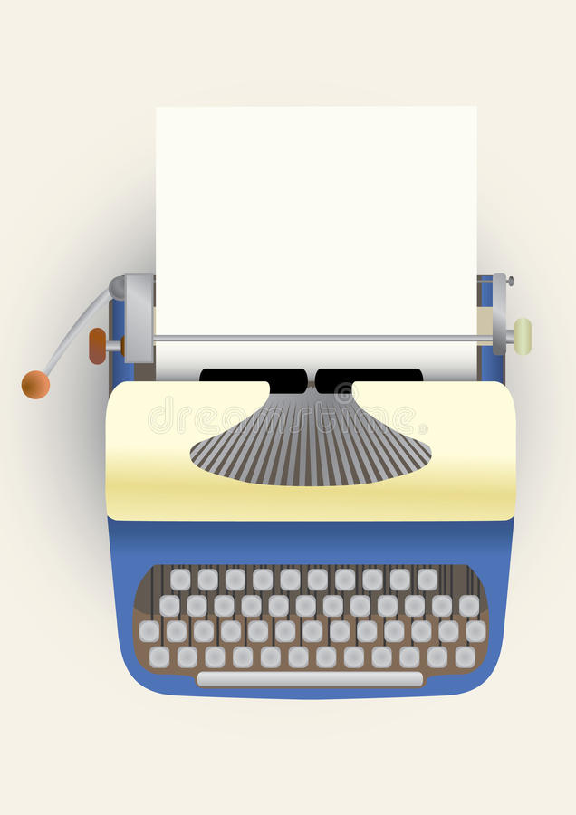 Typewriter with a paper stock illustration
