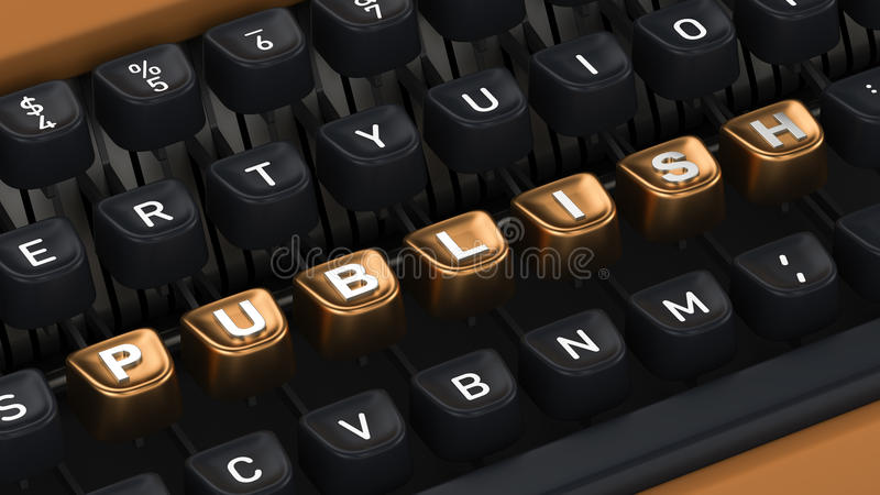 Typewriter with PUBLISH buttons. Typewriter with gold buttons in a row, assembling PUBLISH word royalty free stock photos