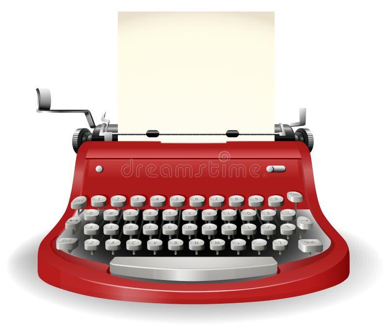 Typewriter. Red typewriter in simple design vector illustration
