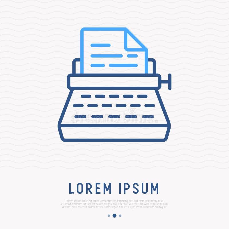 Typewriter thin line icon. Modern vector illustration stock illustration