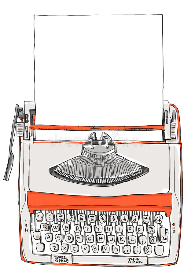 Typewriter two tone cream orange with paper vector illustration