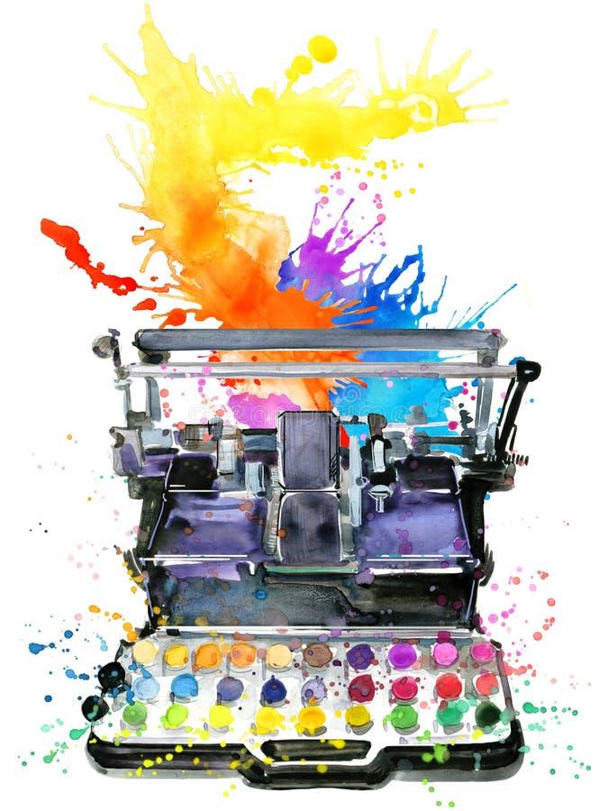 Typewriter. Typewriter illustration. Color printer illustration. Typewriter. Vintage typewriter. Typewriter illustration watercolor. Color printer illustration royalty free illustration