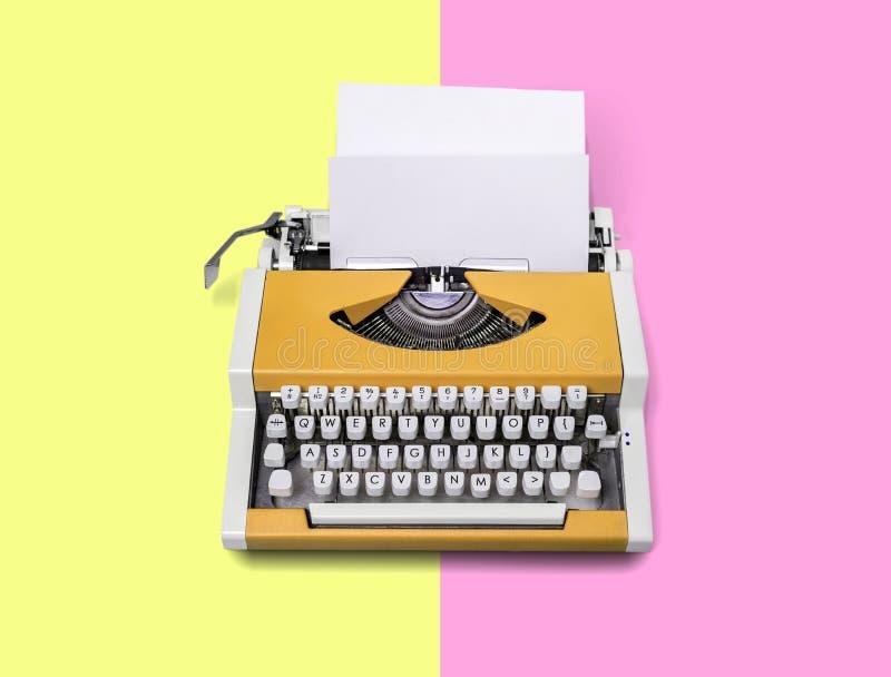Typewriter. Keyboard pink vintage article author background stock photos