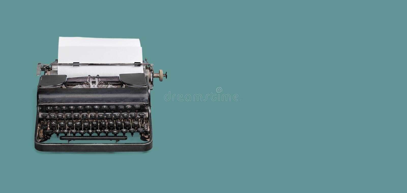 Typewriter. Vintage author background type machine writer stock photo