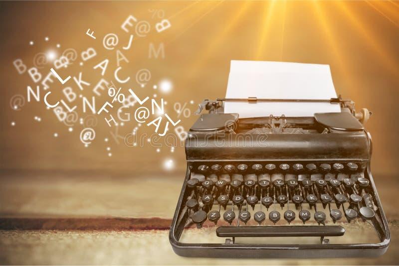 Typewriter. Vintage writer antique author background black royalty free stock image